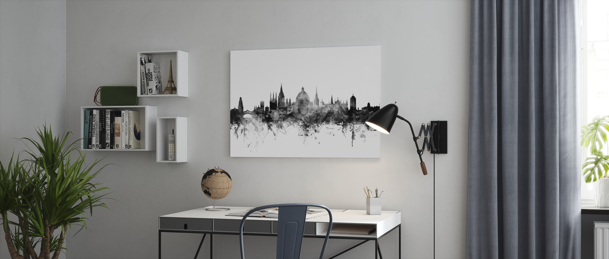 Oxford UK Skyline Black - Canvas print - Office