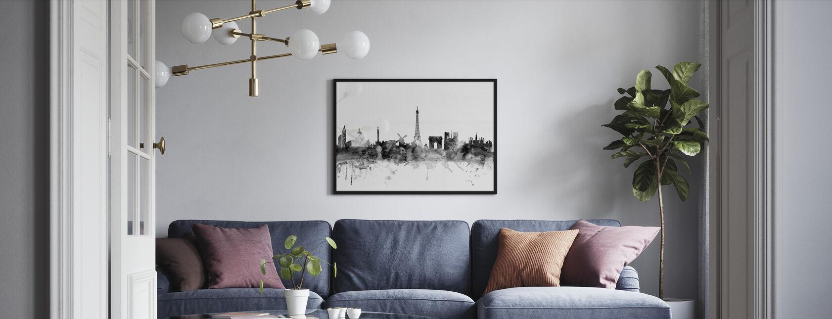 Paris Skyline Noir - Impression encadree - Salle à manger