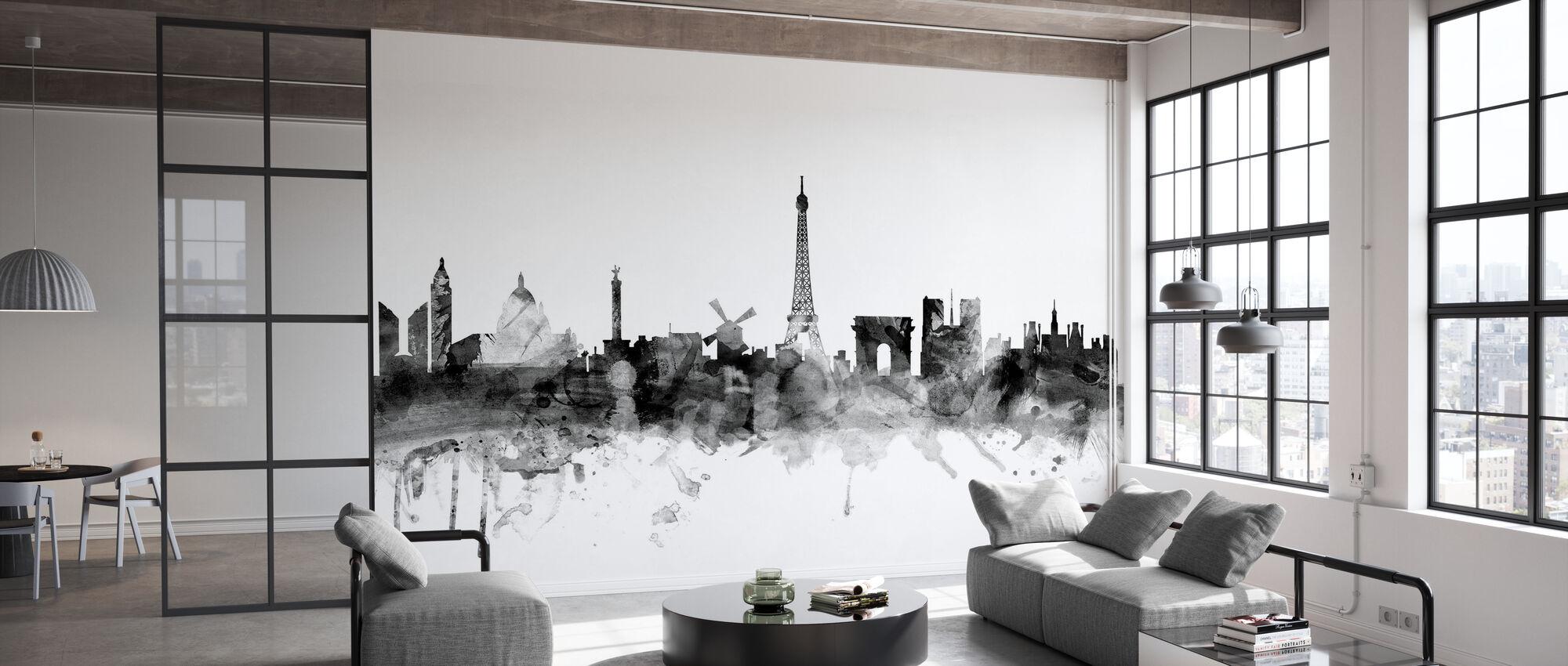 Paris Skyline Black - Wallpaper - Office