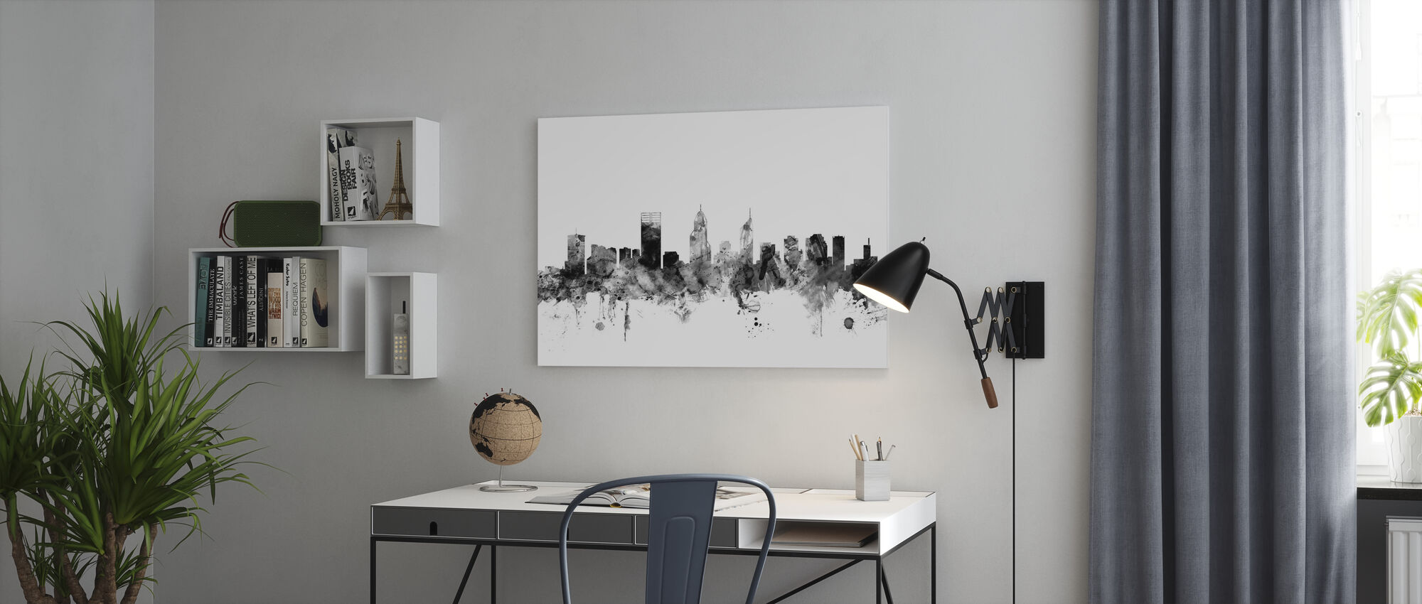 Perth Australia Skyline Black - Canvas print - Office