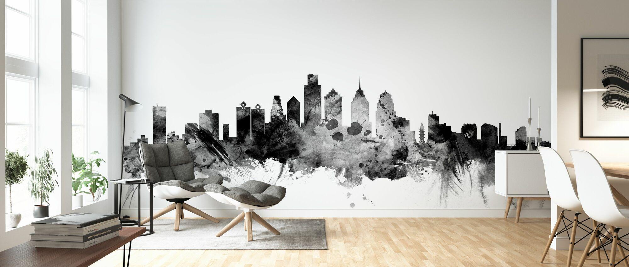 Philadelphia Pennsylvania Skyline Black - Wallpaper - Living Room
