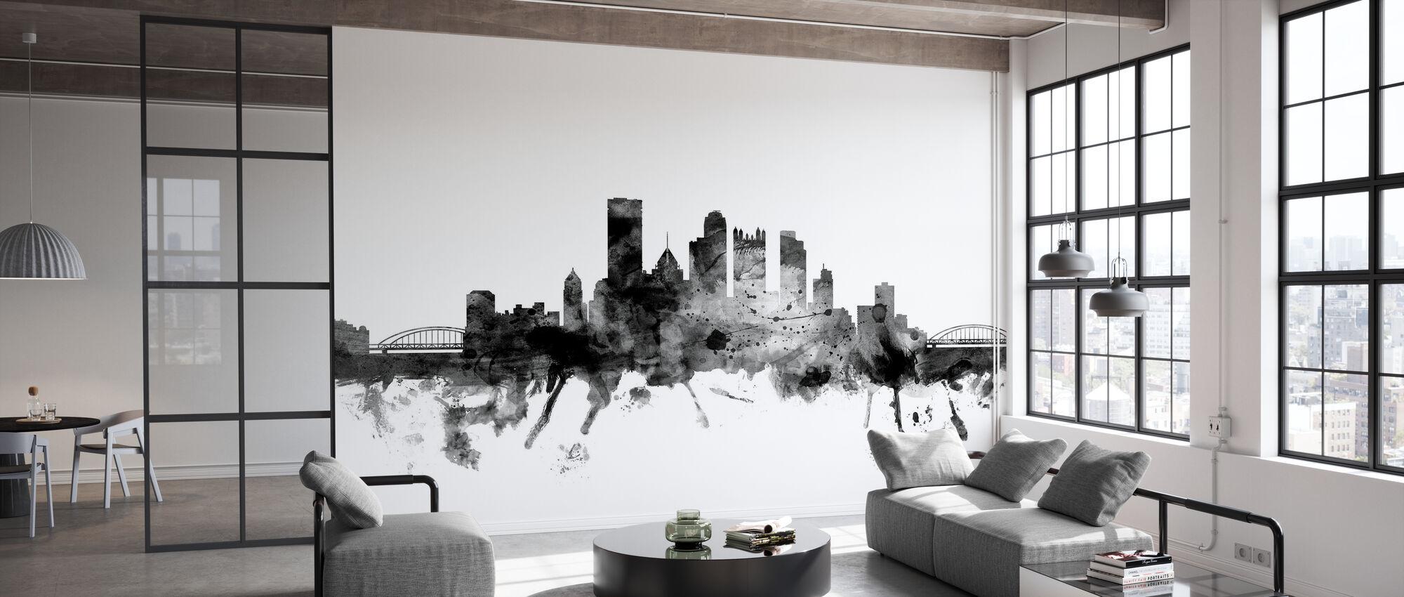 Pittsburgh Pennsylvania Skyline Black - Wallpaper - Office