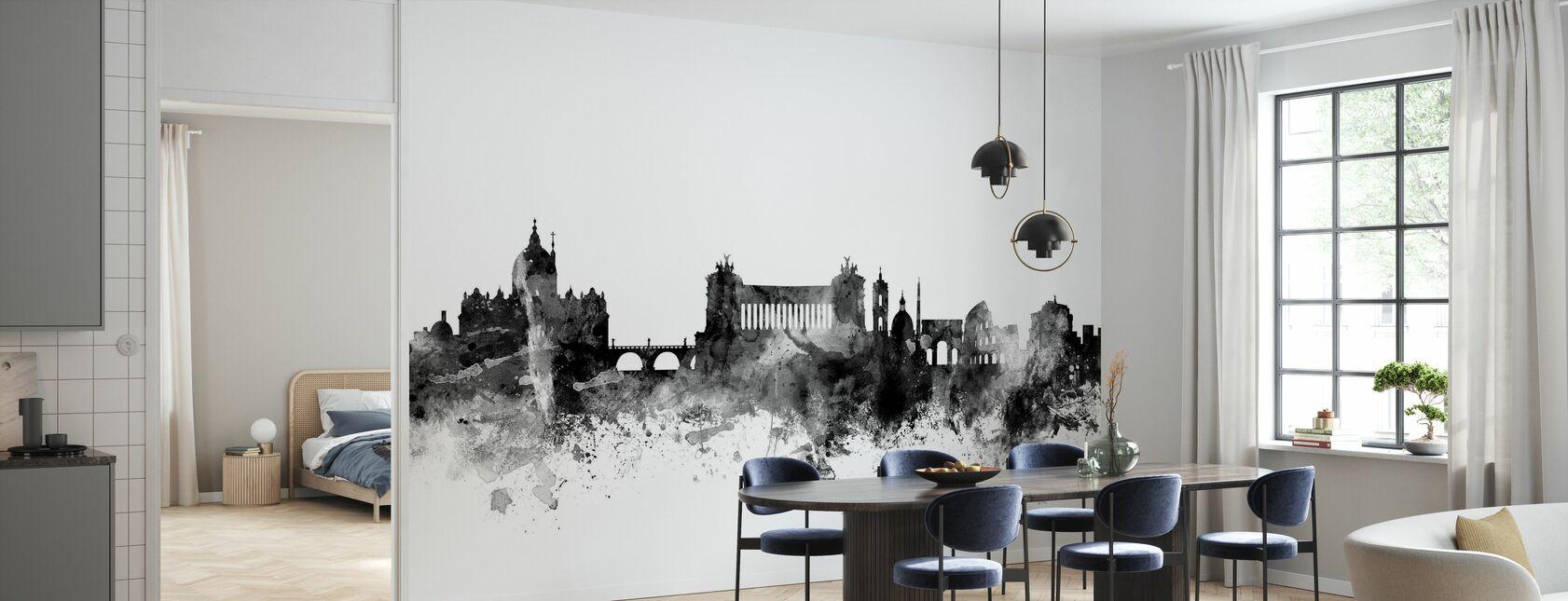 Rome Skyline Black - Wallpaper - Kitchen