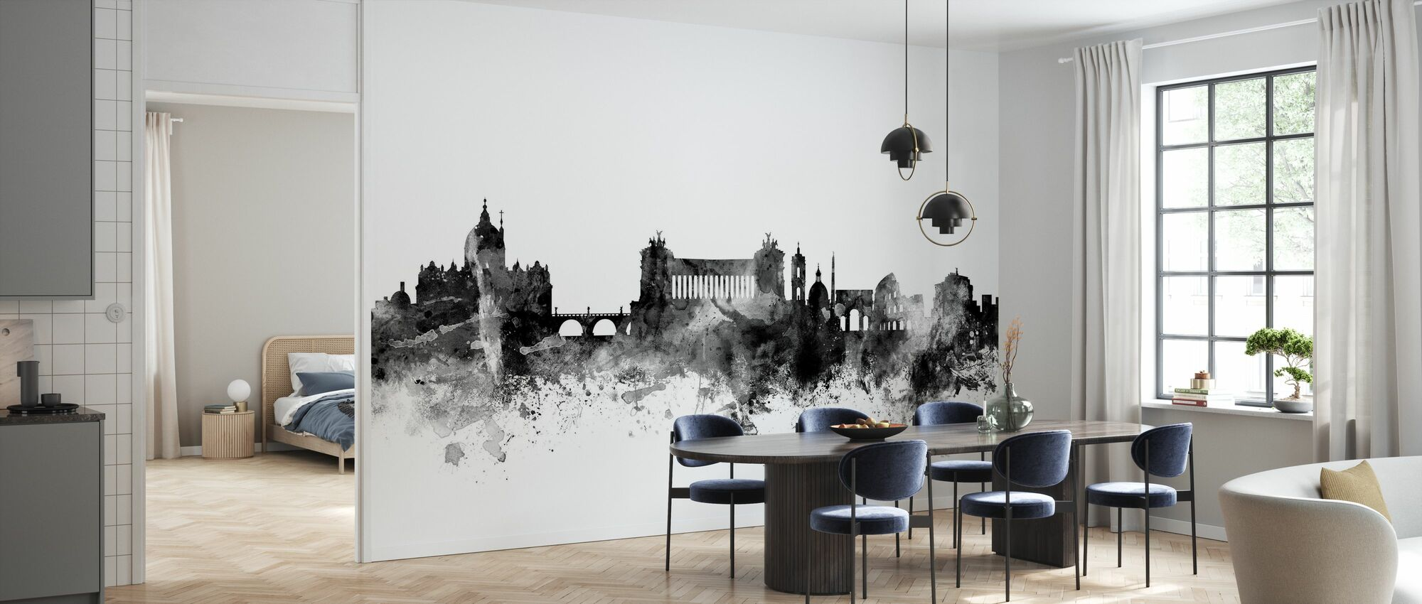 Rome Skyline Black - Wallpaper - Kitchen