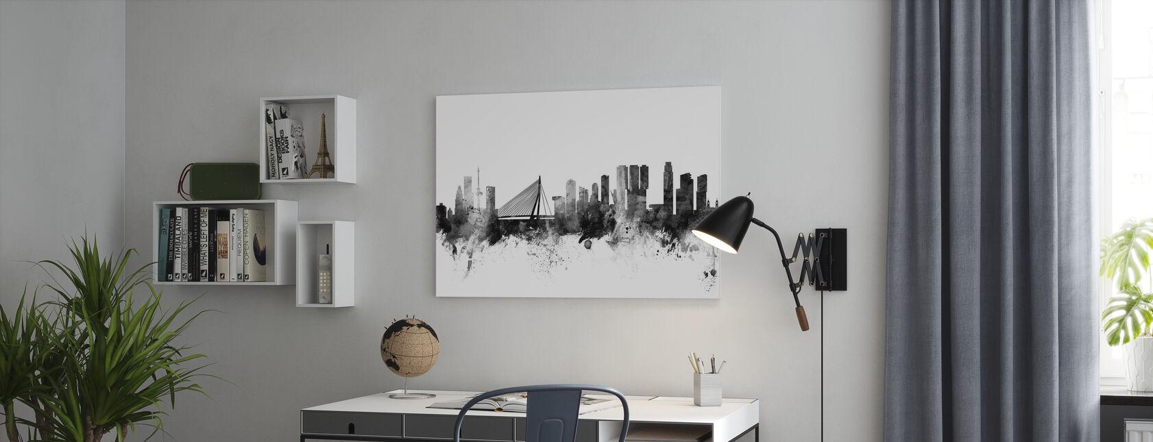 Rotterdam Skyline Zwart - Canvas print - Kantoor