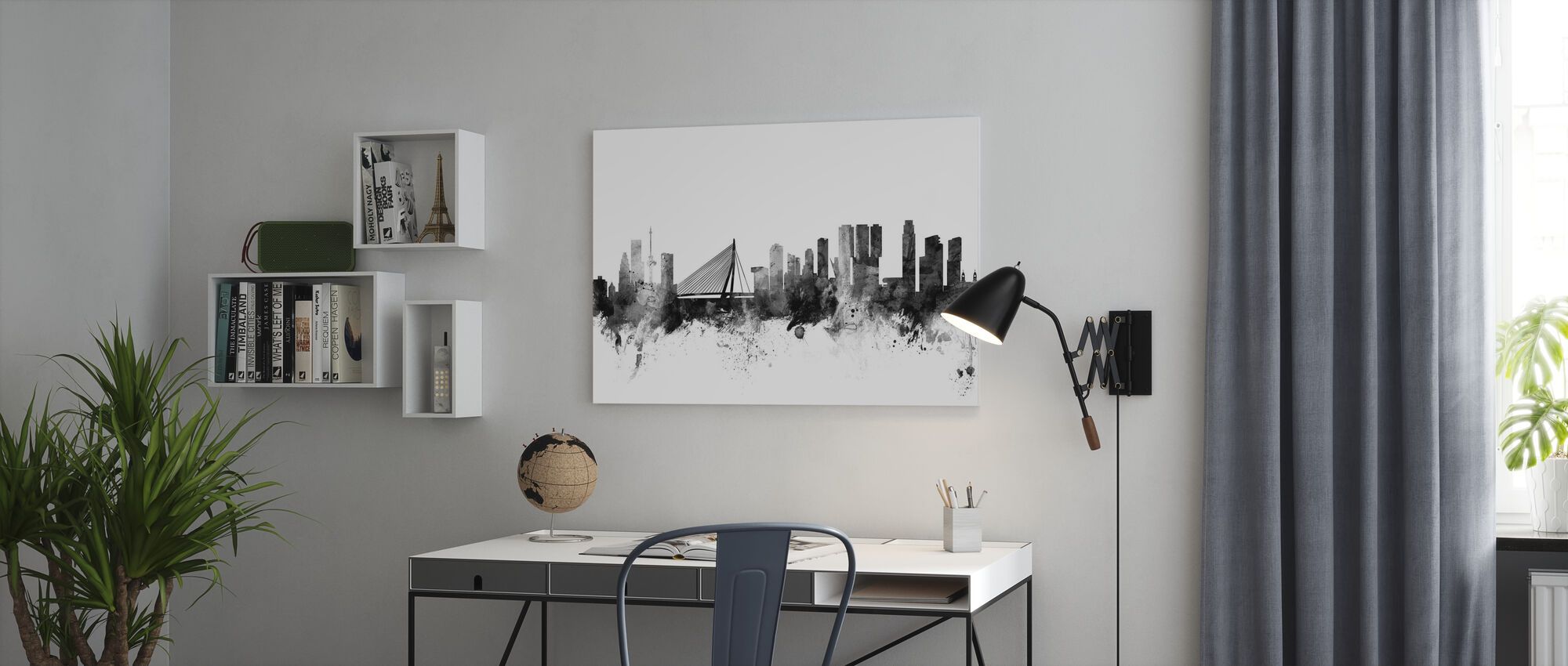 Rotterdam Skyline Schwarz - Leinwandbild - Büro