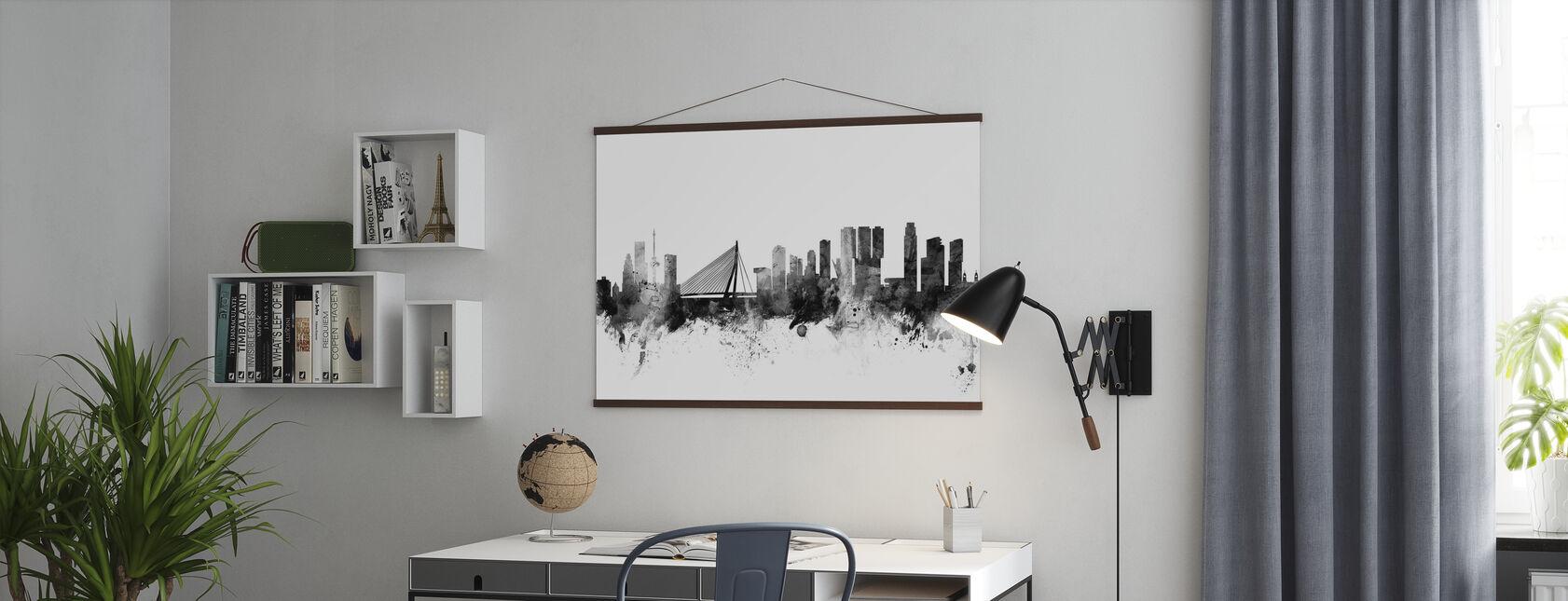 Rotterdam Skyline Zwart - Poster - Kantoor