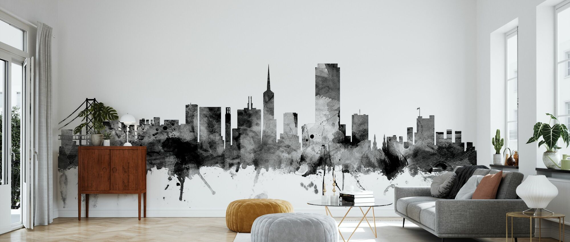 San Francisco Skyline Black - Wallpaper - Living Room
