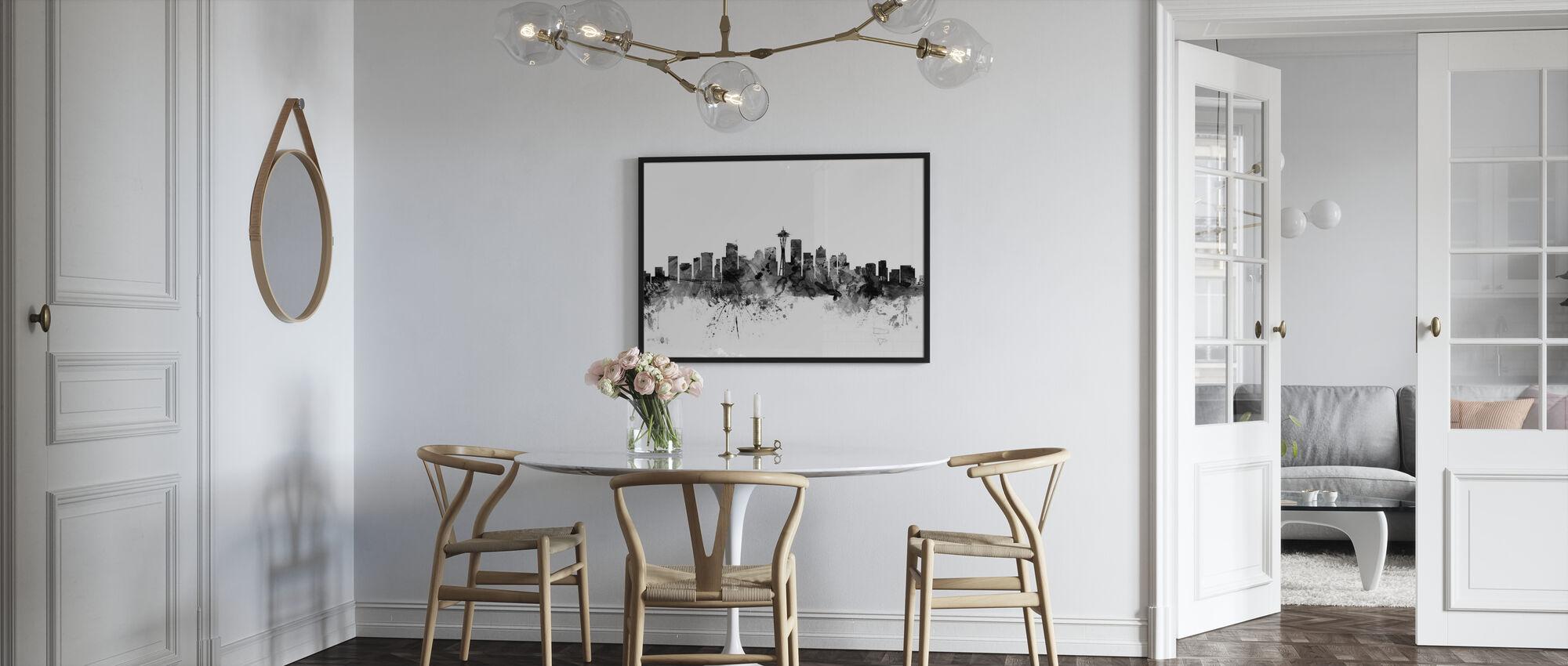 Seattle Skyline Zwart - Ingelijste print - Keuken