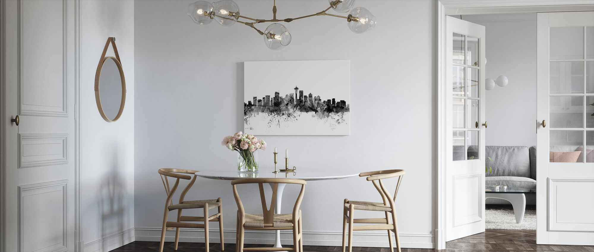 Seattle Skyline Zwart - Canvas print - Keuken