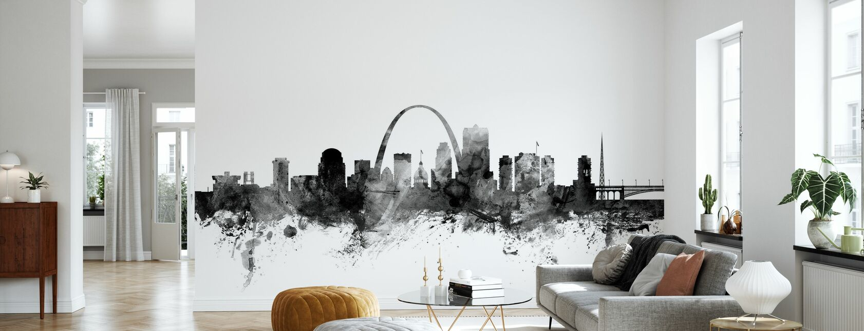 St Louis Missouri Skyline Black - Wallpaper - Living Room