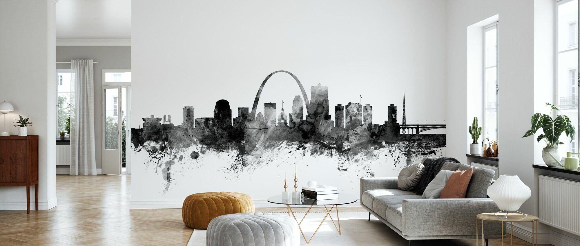 St Louis Missouri Skyline Schwarz - Tapete - Wohnzimmer