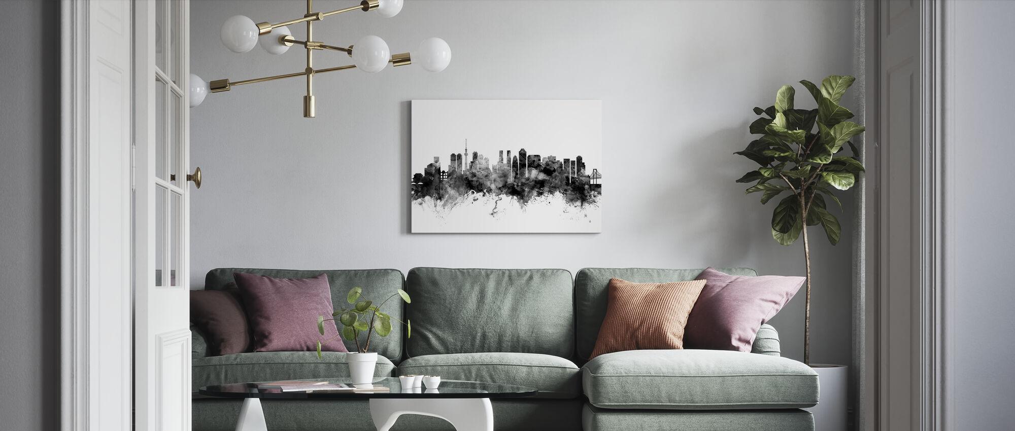 Tokyo Skyline Black - Canvas print - Living Room