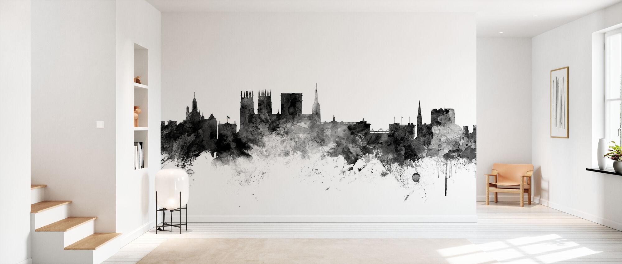 York UK Skyline Black - Wallpaper - Hallway