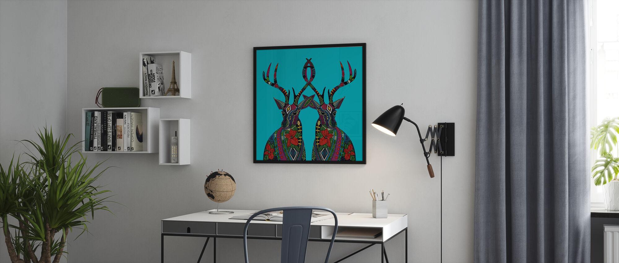 Poinsettia Deer - Poster - Office