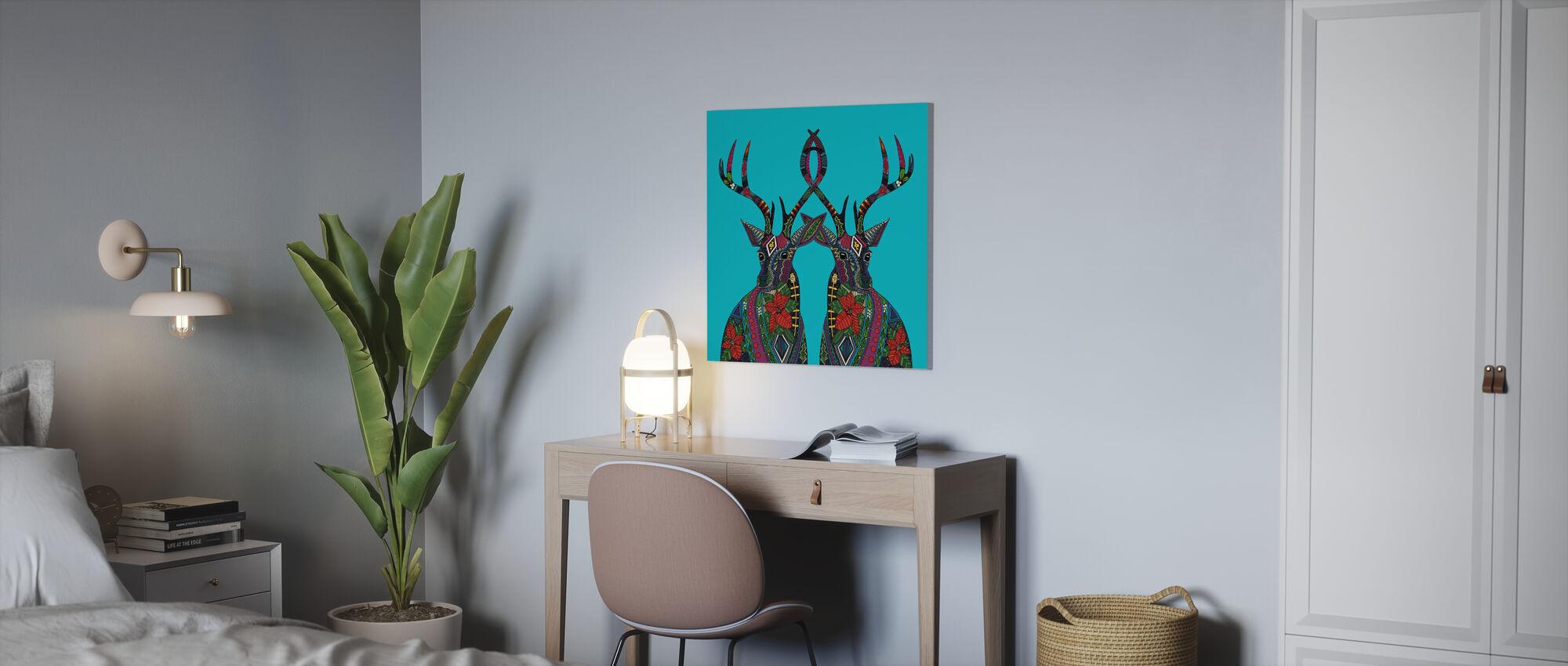 Poinsettia Deer - Canvas print - Office