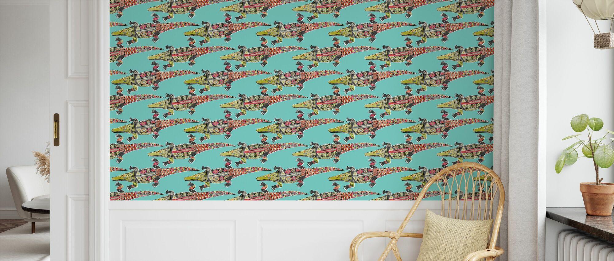 Krokodil Blauw - Behang - Kinderkamer