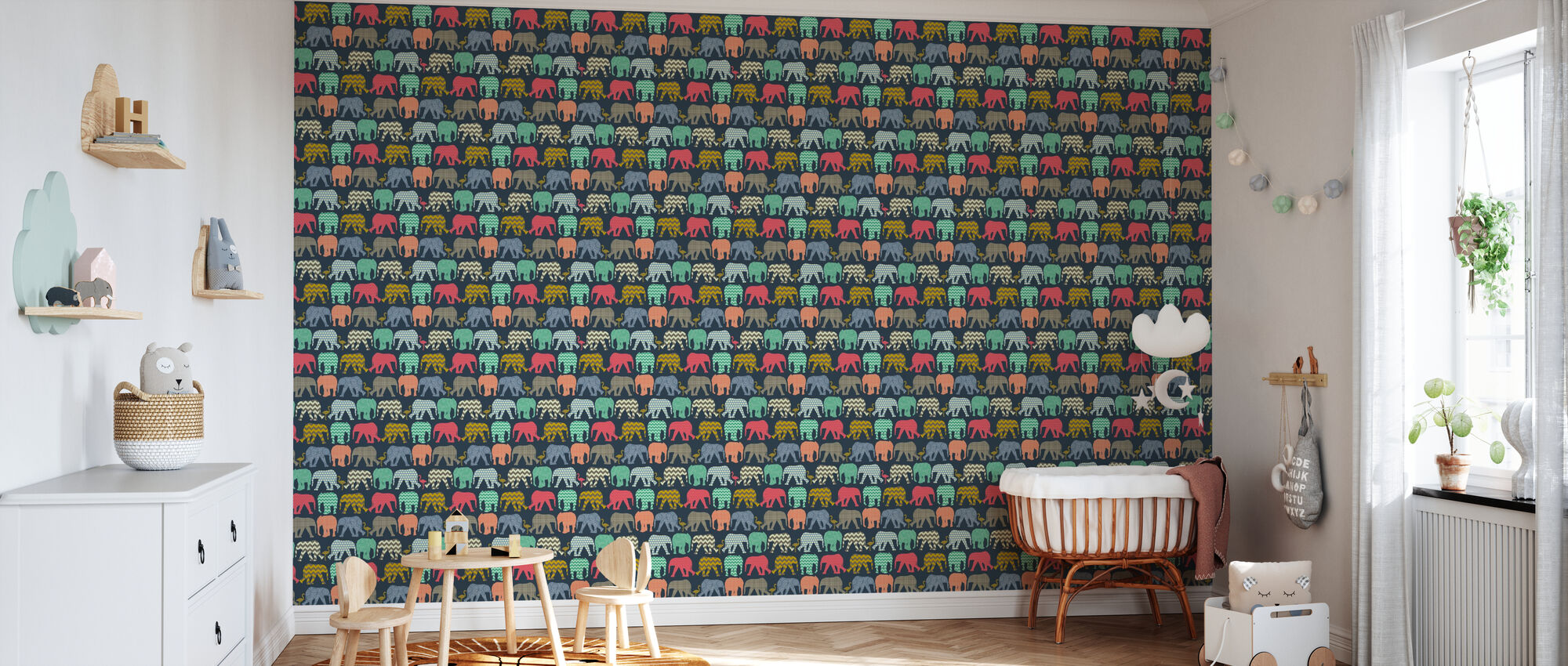Baby Elephants and Flamingos 1 - Wallpaper - Nursery