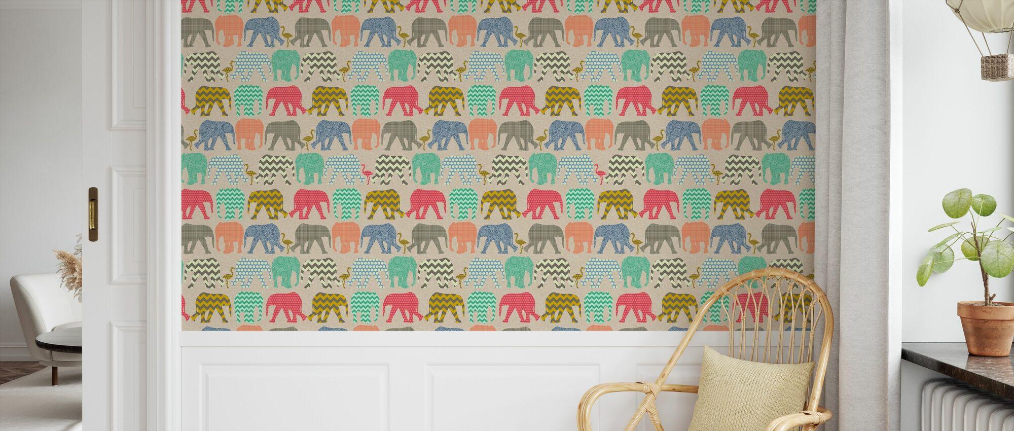 Baby olifanten en flamingo's 2 - Behang - Kinderkamer
