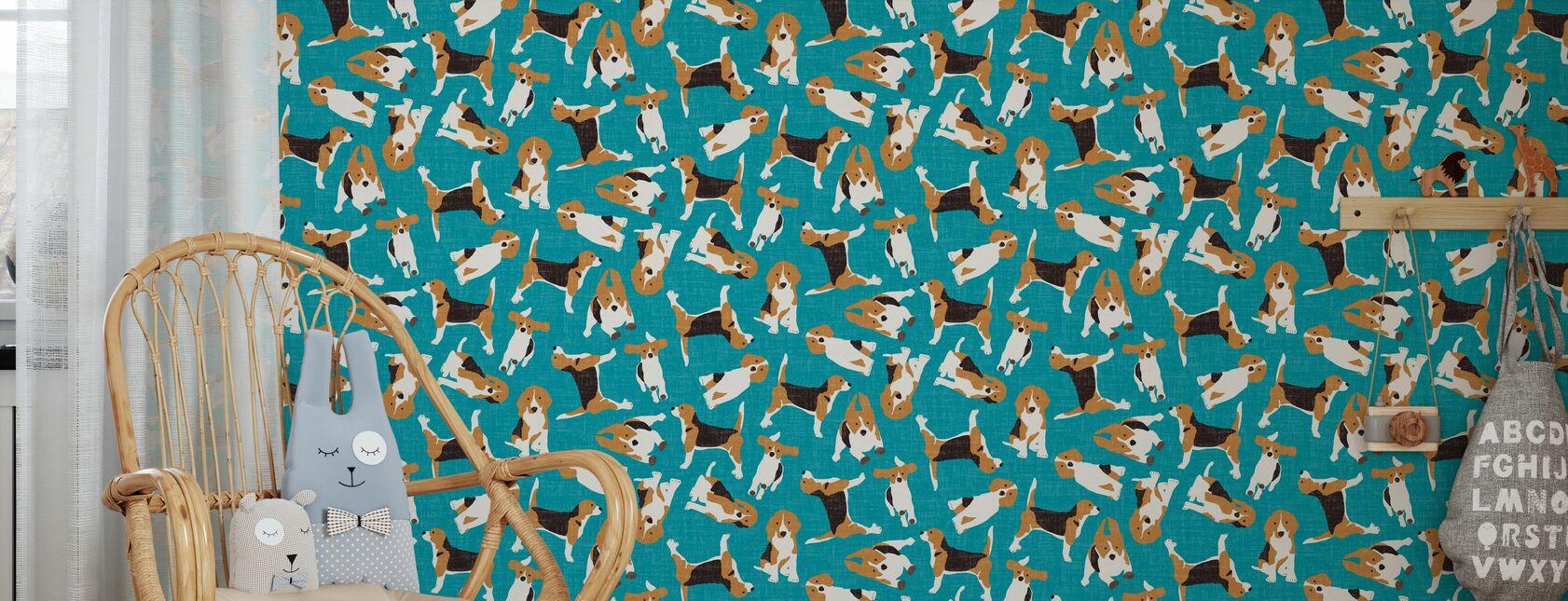 Beagle Scatter Blå - Tapet - Barnrum