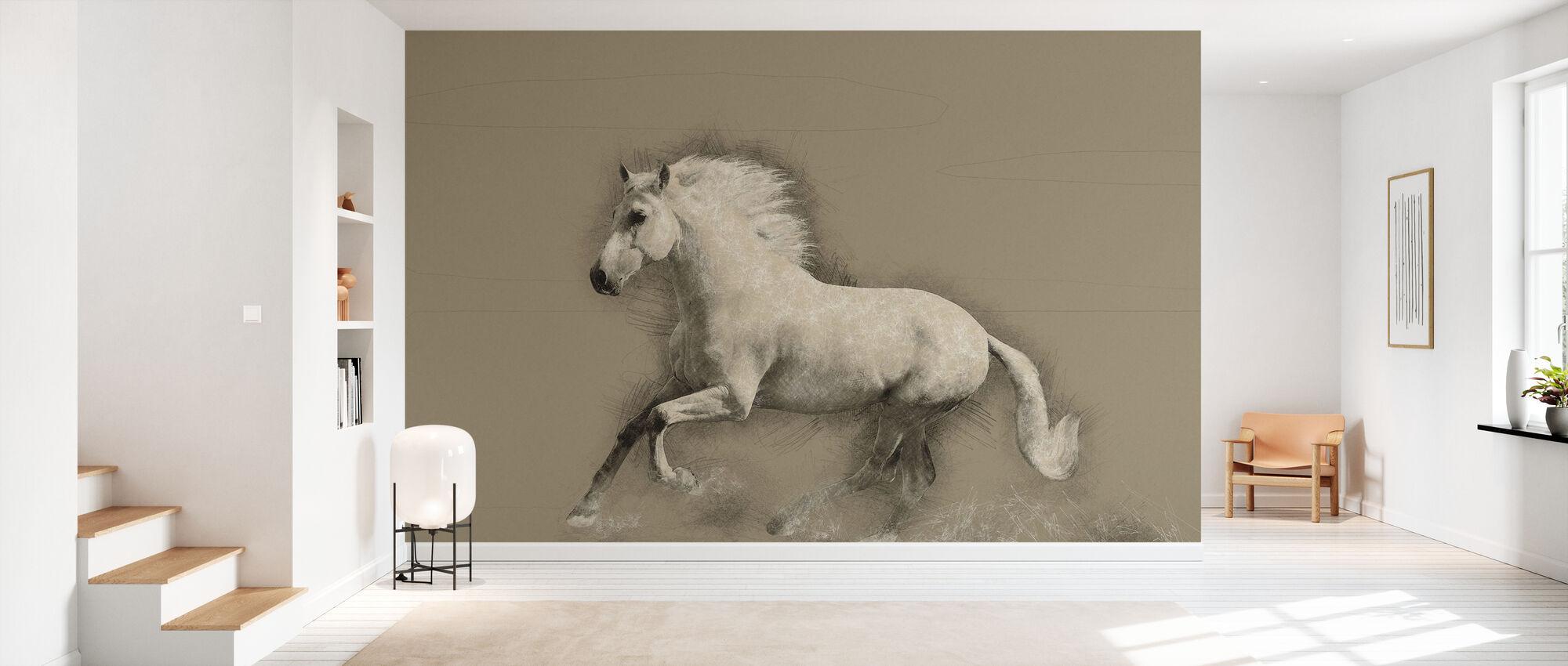 Horse Drawing - Wallpaper - Hallway