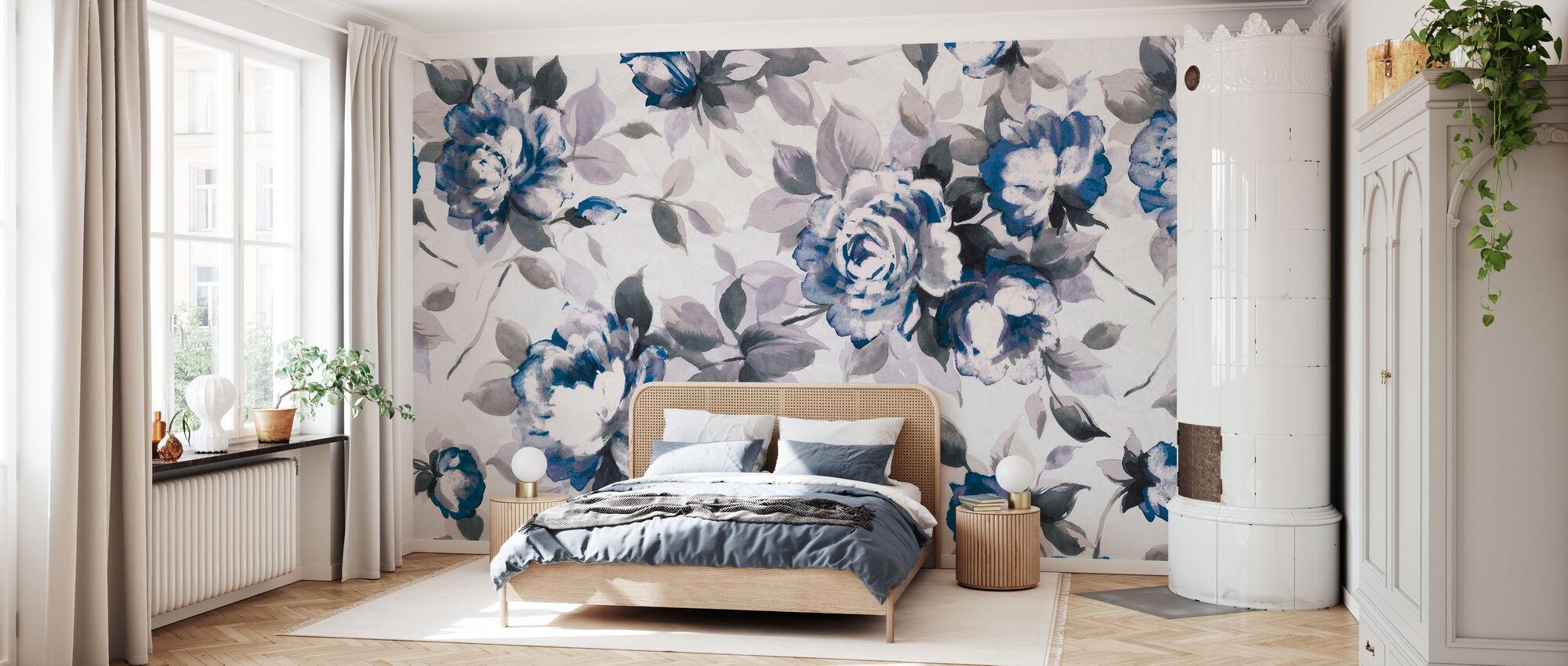 Scent of Roses Indigo - Wallpaper - Bedroom