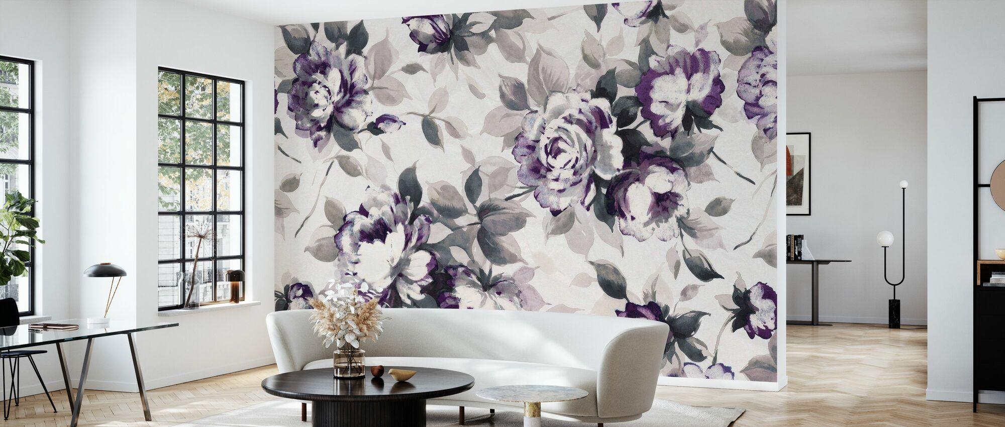 Scent of Roses Plum - Wallpaper - Living Room