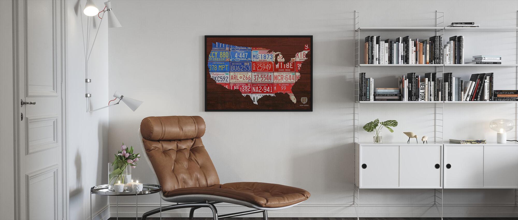USA Flag Map - Poster - Living Room