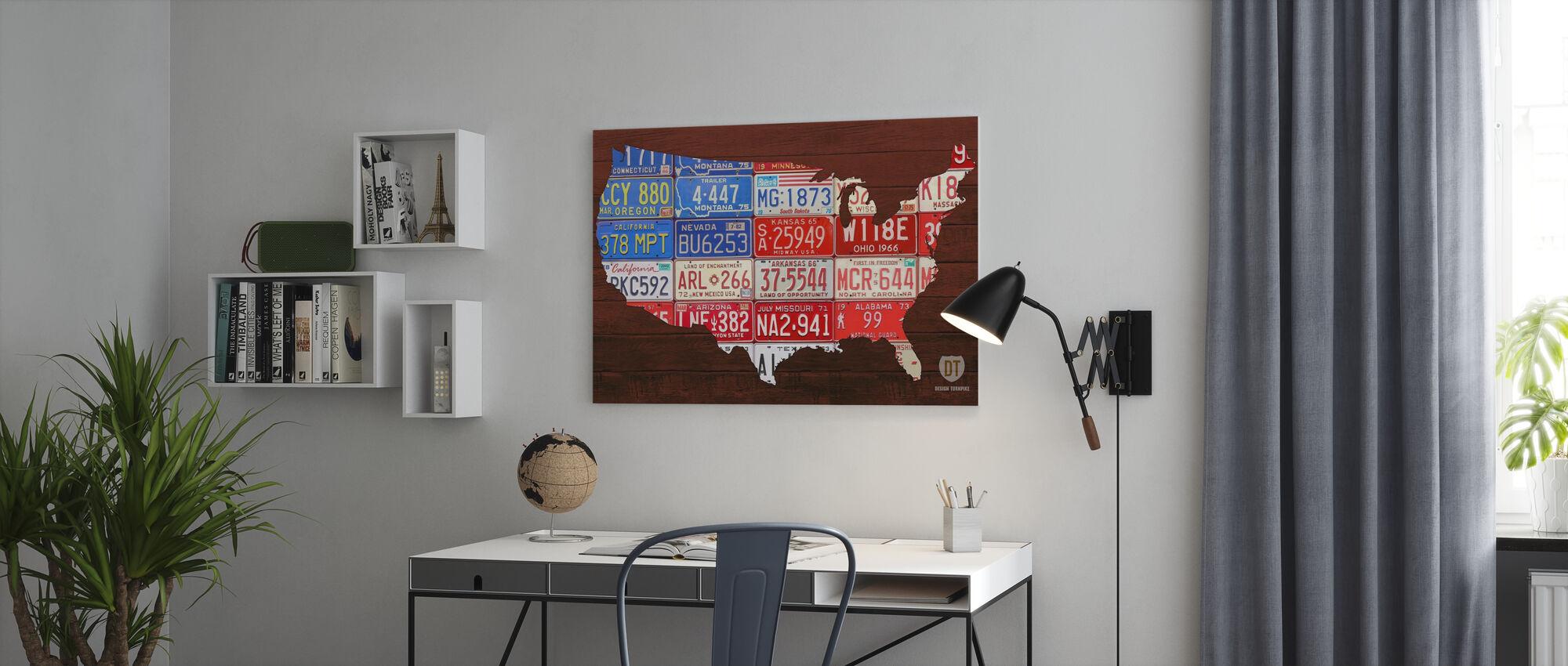 USA Flag Kort - Billede på lærred - Kontor