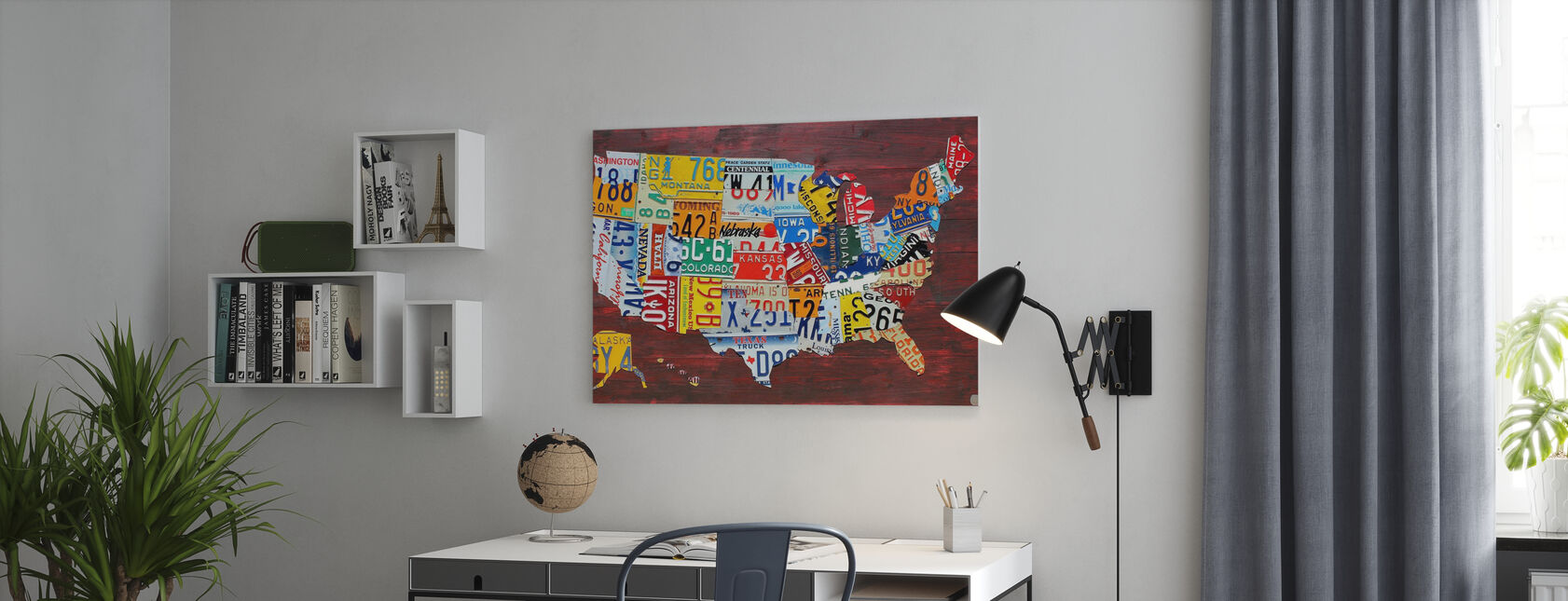 USA Map License Plates - Canvas print - Office