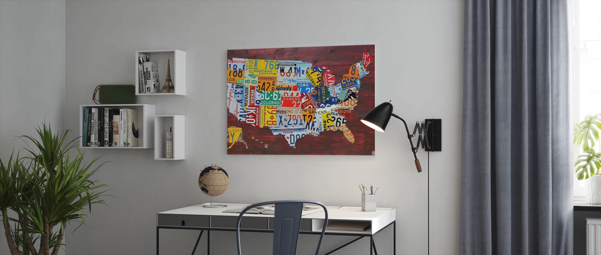 USA Karte Nummernschilder - Leinwandbild - Büro