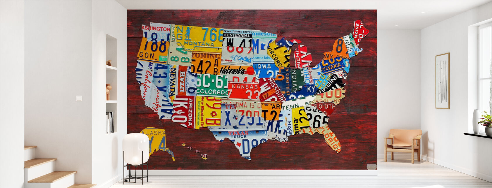 USA Map Licentieplaten - Behang - Gang