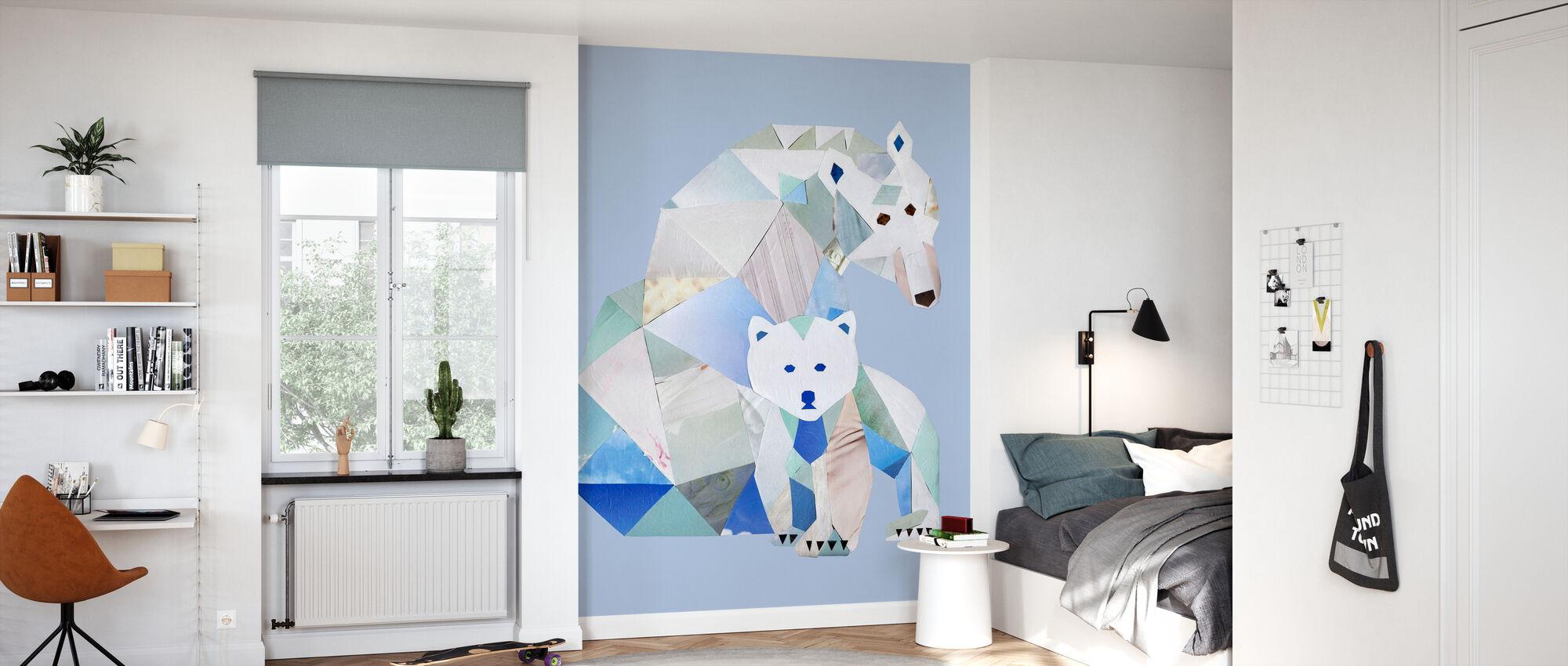 Polar Bears Gray - Wallpaper - Kids Room