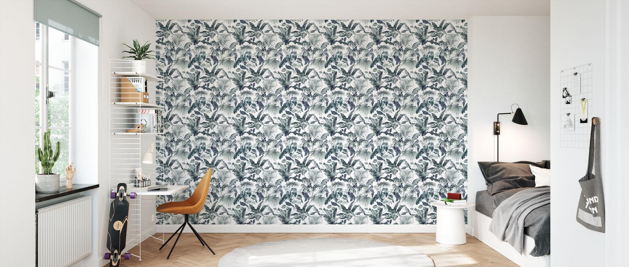 Jungle Canopy 2 Steel Gray - Wallpaper - Kids Room