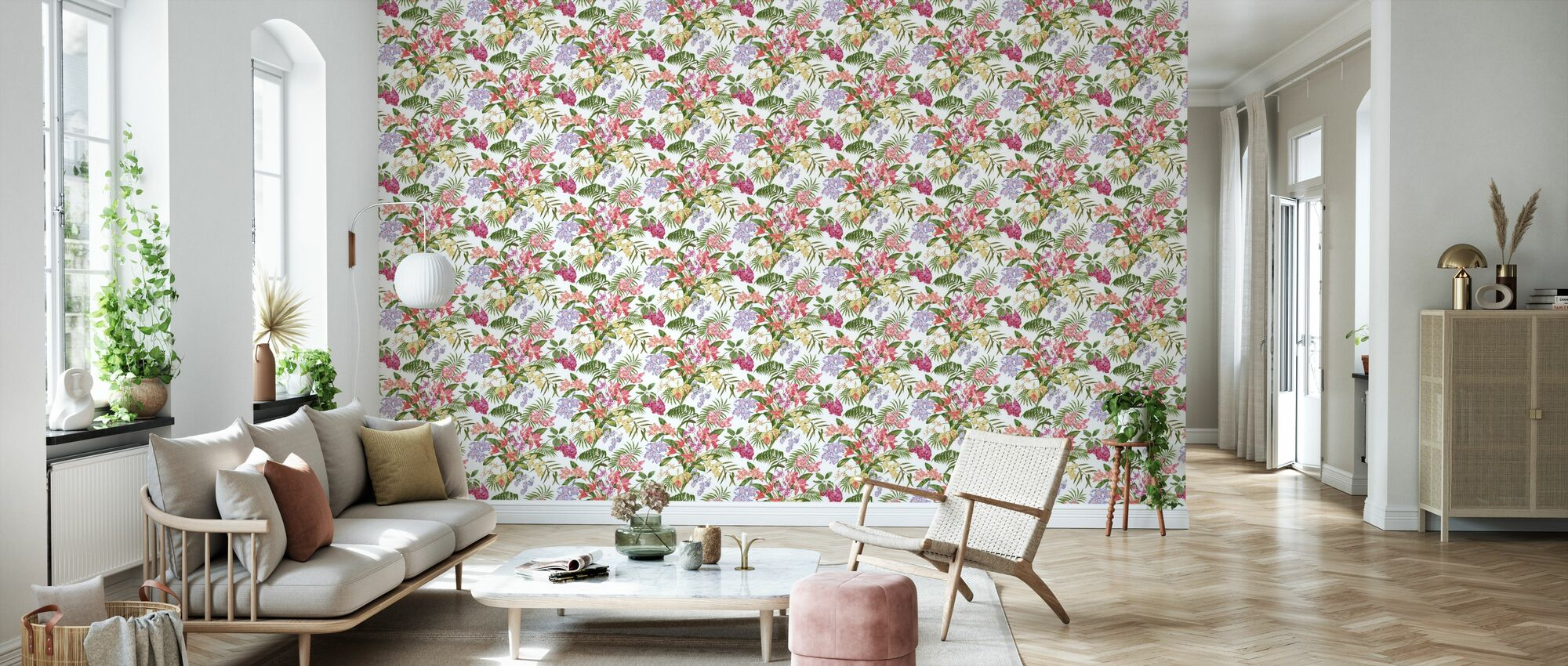 Tropic Bouquet Multi - Wallpaper - Living Room