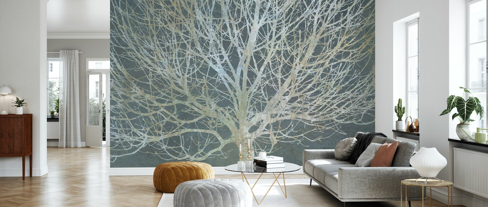 Silverträd - Tapet - Vardagsrum
