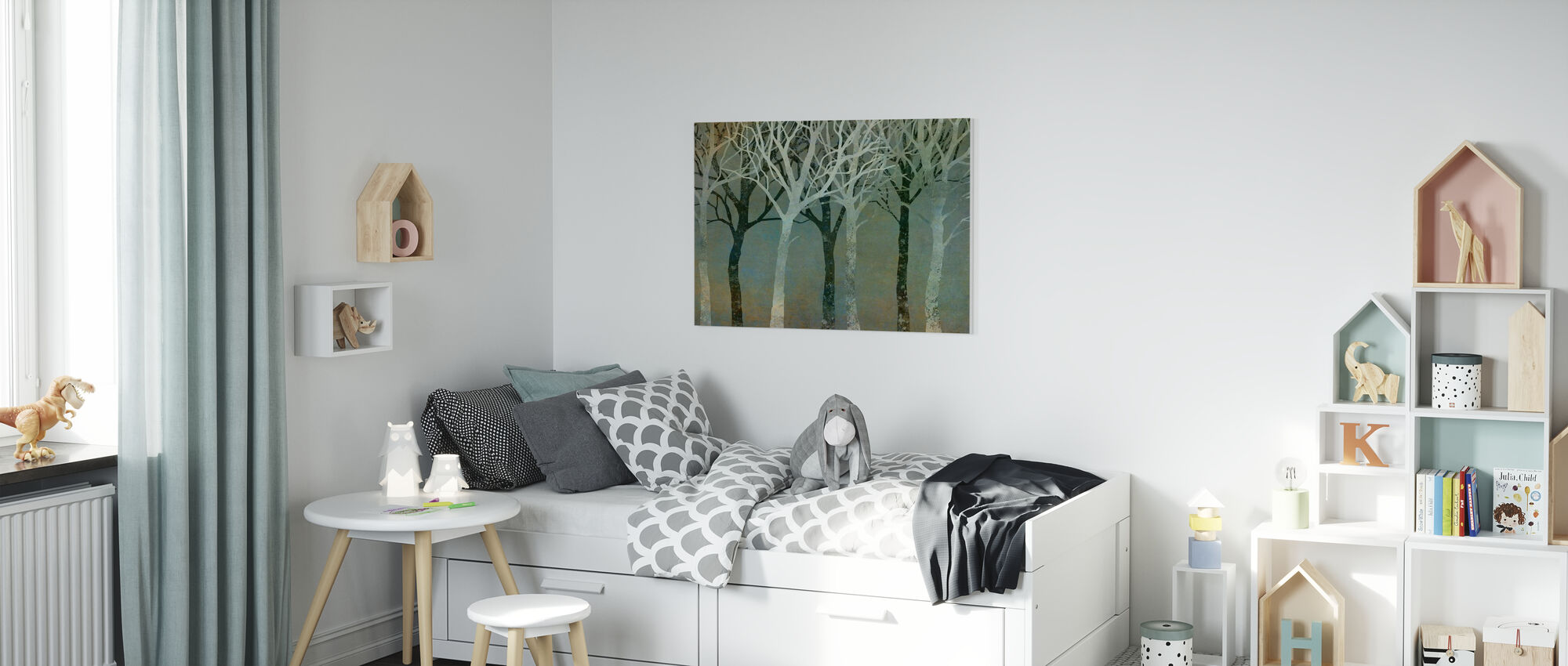 Träd Silhuetter Grön - Canvastavla - Barnrum