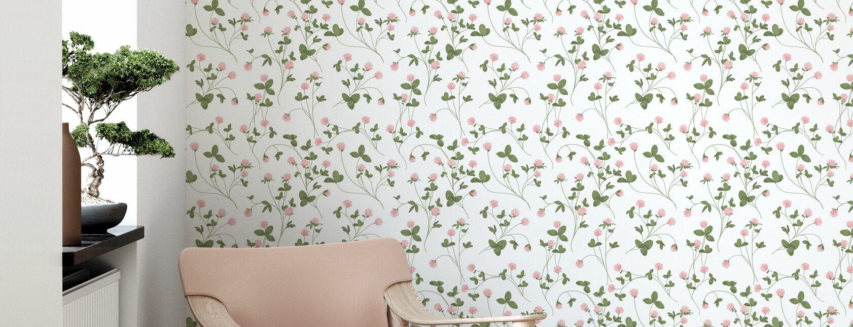 Clover White - Papel pintado - Salón