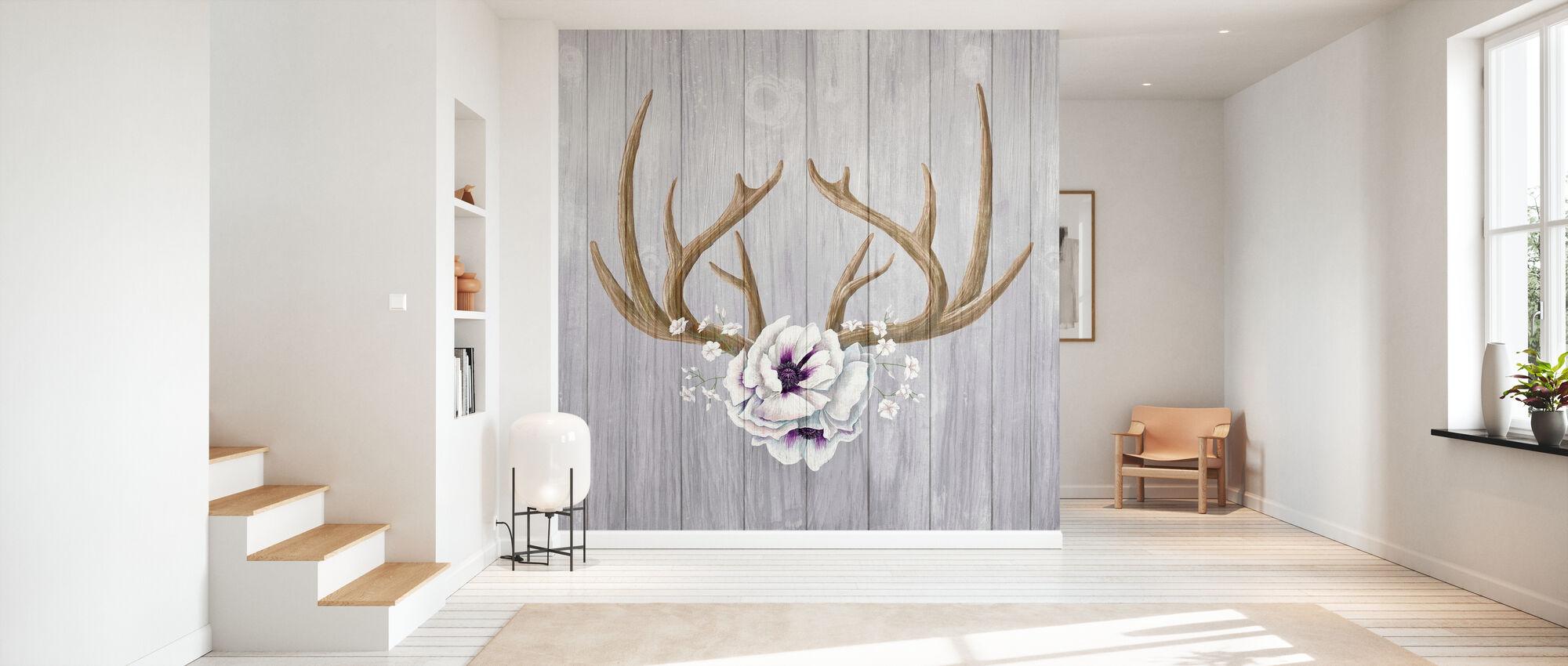 Antlers and Poppies II - Wallpaper - Hallway