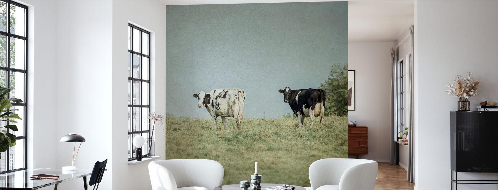 Grazende koeien - Behang - Woonkamer