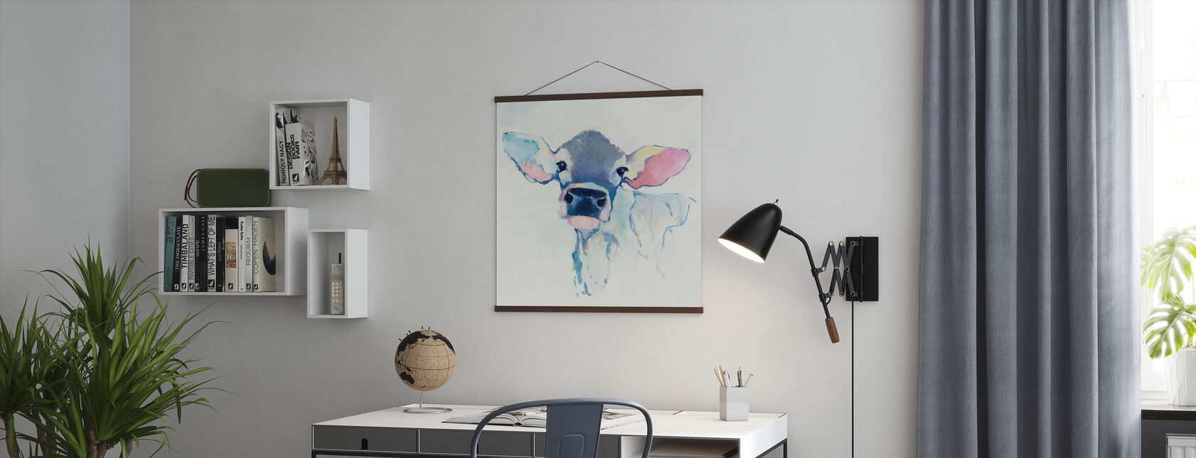 Vesiväri lehmä - Juliste - Toimisto