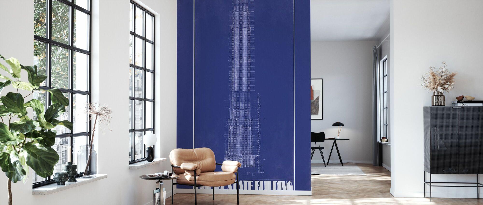 Empire State Building - Blauer Druck - Tapete - Wohnzimmer