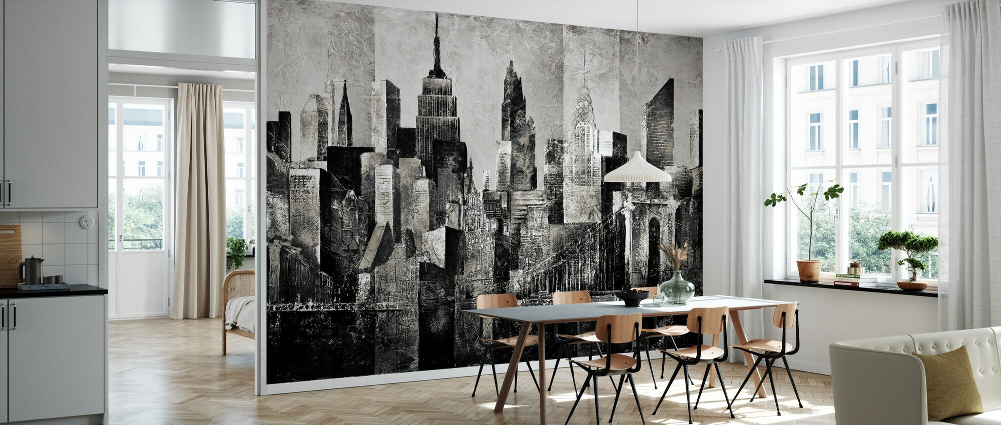 new york skyline kunst - bw - Behang - Keuken