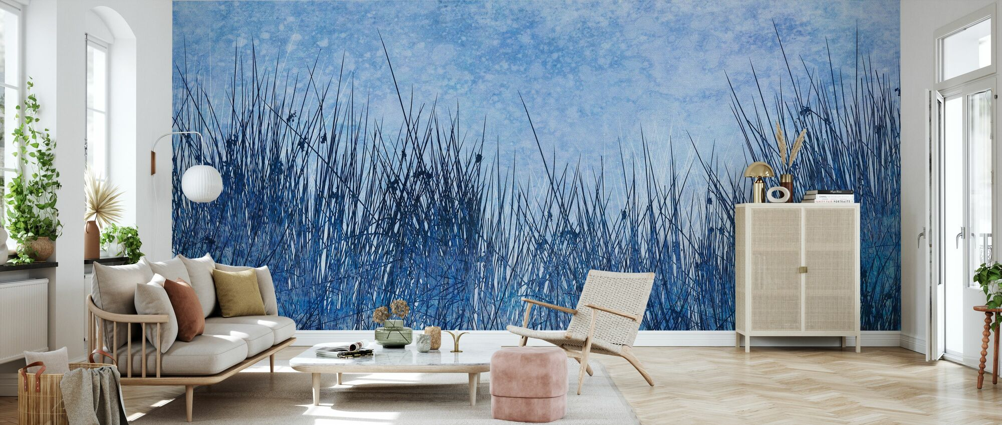 Blå Gress Silhouette - Tapet - Stue