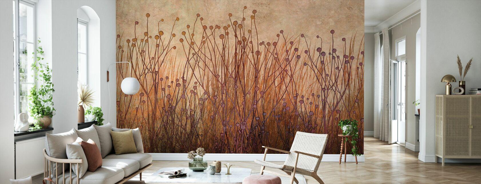 Copper Grass Silhouette - Wallpaper - Living Room