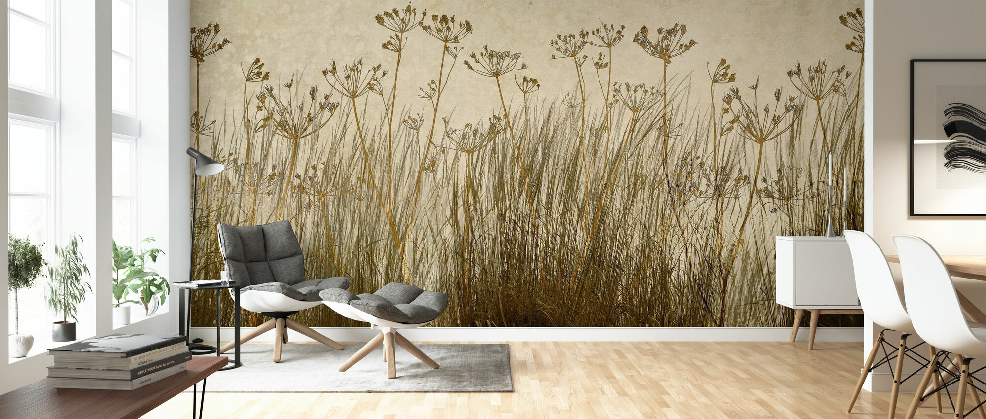 Golden Grass Silhouette - Wallpaper - Living Room