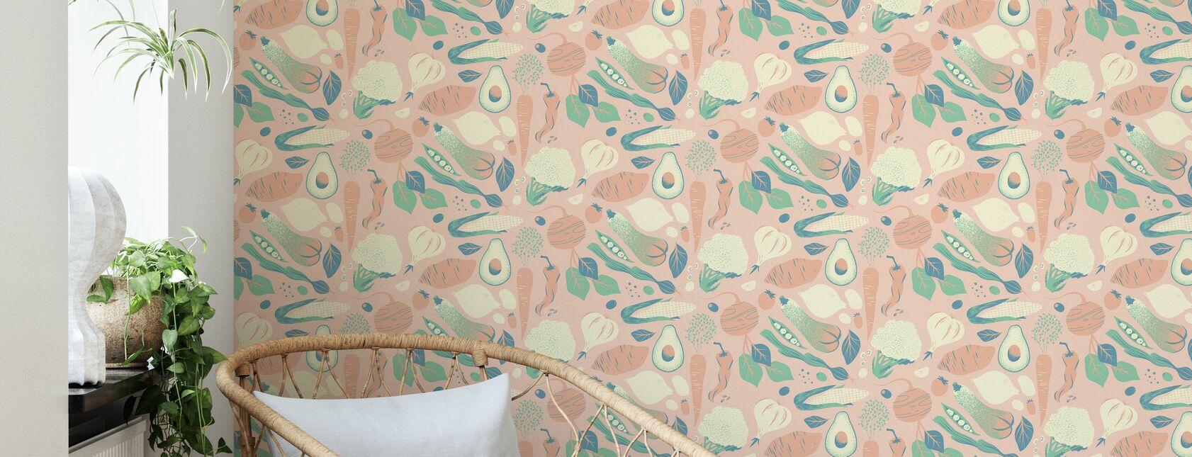 Greens Pink - Wallpaper - Living Room