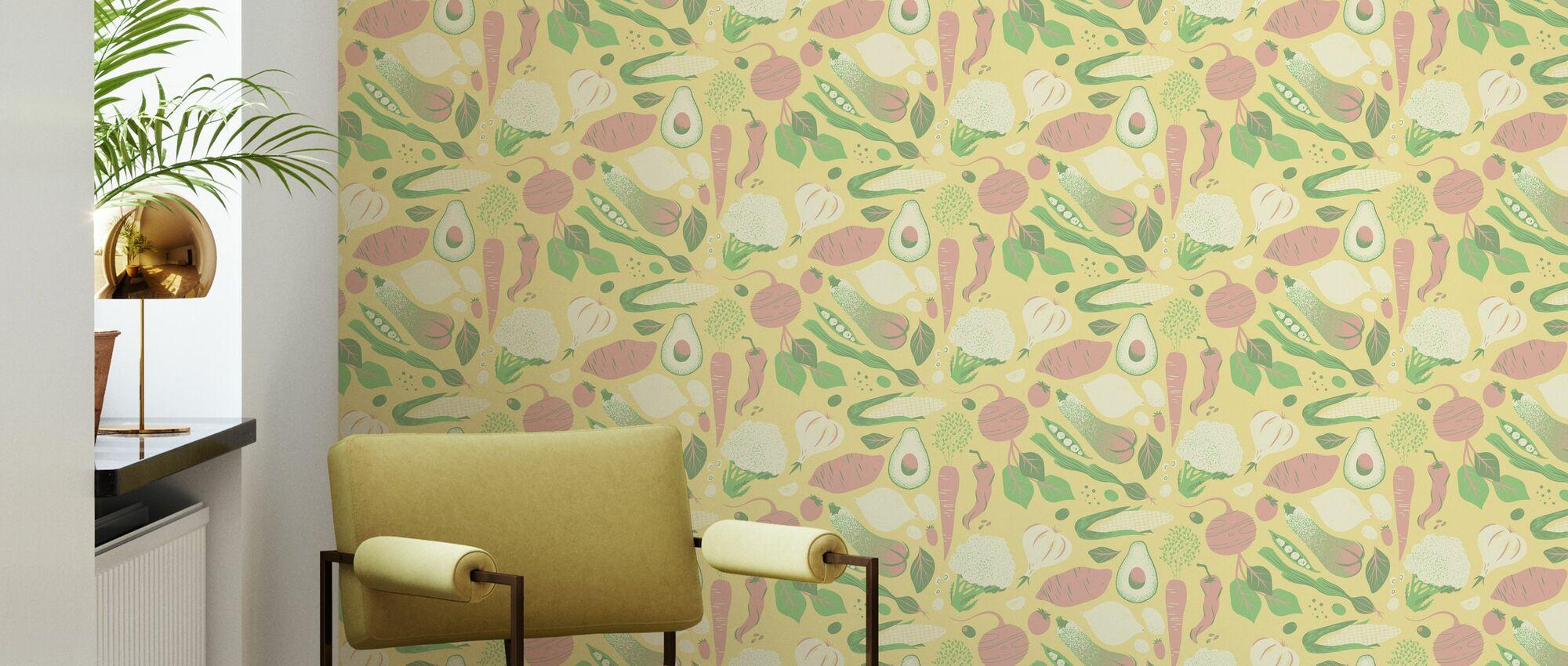 Greens Yellow - Wallpaper - Living Room