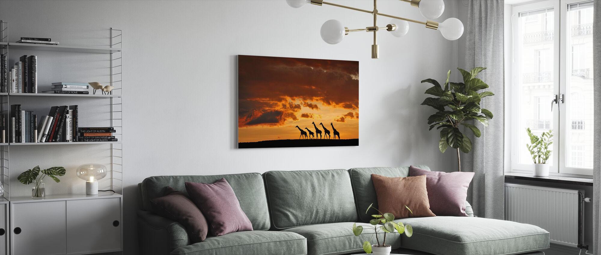 Vijf Giraffen - Canvas print - Woonkamer