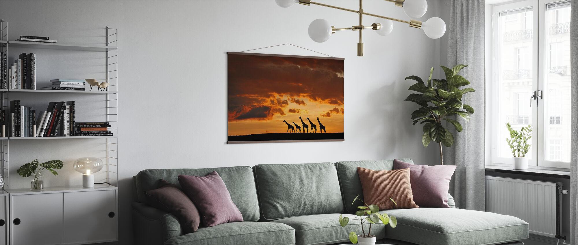 Vijf Giraffen - Poster - Woonkamer